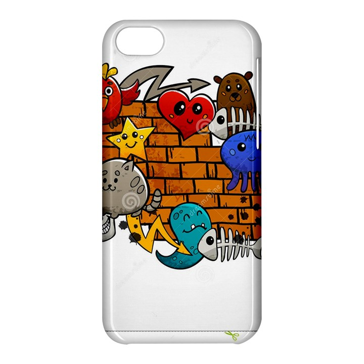 Graffiti Characters Flat Color Concept Cartoon Animals Fruit Abstract Around Brick Wall Vector Illus Apple iPhone 5C Hardshell Case