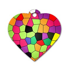 Stained Glass Abstract Background Dog Tag Heart (one Side)