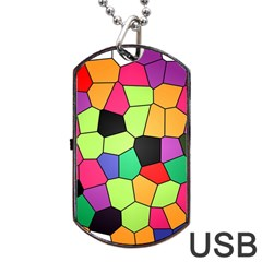 Stained Glass Abstract Background Dog Tag Usb Flash (two Sides)