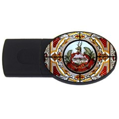 Stained Glass Skylight In The Cedar Creek Room In The Vermont State House Usb Flash Drive Oval (4 Gb)