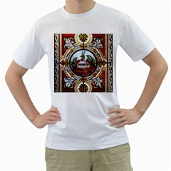 Stained Glass Skylight In The Cedar Creek Room In The Vermont State House Men s T Shirt (white)