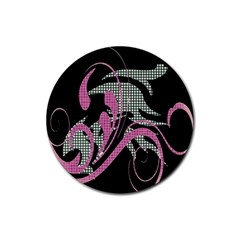 Violet Calligraphic Art Rubber Coaster (round)  by Nexatart