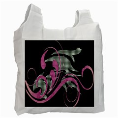 Violet Calligraphic Art Recycle Bag (two Side)