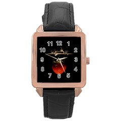 Strawberry Rose Gold Leather Watch  by Nexatart