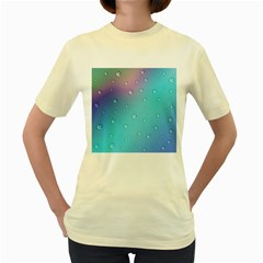 Water Droplets Women s Yellow T Shirt by Nexatart