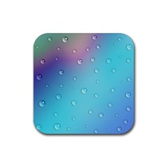 Water Droplets Rubber Square Coaster (4 Pack)