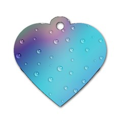 Water Droplets Dog Tag Heart (one Side)