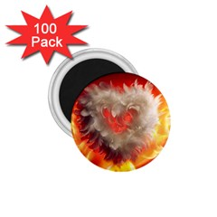Arts Fire Valentines Day Heart Love Flames Heart 1 75  Magnets (100 Pack)  by Nexatart