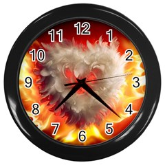 Arts Fire Valentines Day Heart Love Flames Heart Wall Clocks (black)