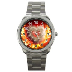 Arts Fire Valentines Day Heart Love Flames Heart Sport Metal Watch