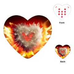 Arts Fire Valentines Day Heart Love Flames Heart Playing Cards (heart)  by Nexatart