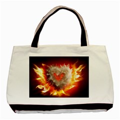 Arts Fire Valentines Day Heart Love Flames Heart Basic Tote Bag