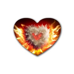 Arts Fire Valentines Day Heart Love Flames Heart Rubber Coaster (heart)  by Nexatart
