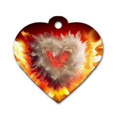 Arts Fire Valentines Day Heart Love Flames Heart Dog Tag Heart (Two Sides) by Nexatart