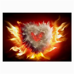 Arts Fire Valentines Day Heart Love Flames Heart Large Glasses Cloth by Nexatart