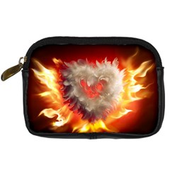 Arts Fire Valentines Day Heart Love Flames Heart Digital Camera Cases