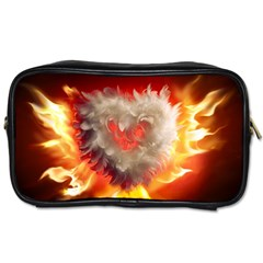 Arts Fire Valentines Day Heart Love Flames Heart Toiletries Bags 2 Side by Nexatart