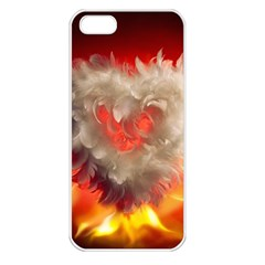 Arts Fire Valentines Day Heart Love Flames Heart Apple Iphone 5 Seamless Case (white)