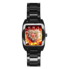 Arts Fire Valentines Day Heart Love Flames Heart Stainless Steel Barrel Watch