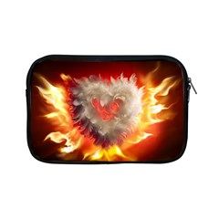 Arts Fire Valentines Day Heart Love Flames Heart Apple Ipad Mini Zipper Cases by Nexatart