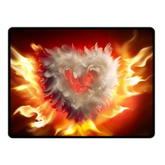 Arts Fire Valentines Day Heart Love Flames Heart Double Sided Fleece Blanket (small)