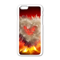 Arts Fire Valentines Day Heart Love Flames Heart Apple Iphone 6/6s White Enamel Case by Nexatart