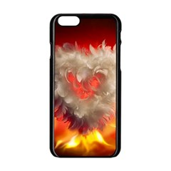 Arts Fire Valentines Day Heart Love Flames Heart Apple Iphone 6/6s Black Enamel Case by Nexatart