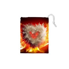 Arts Fire Valentines Day Heart Love Flames Heart Drawstring Pouches (xs)  by Nexatart
