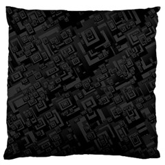 Black Rectangle Wallpaper Grey Large Cushion Case (Two Sides) by Nexatart