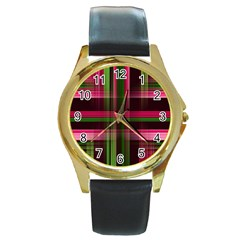 Background Texture Pattern Color Round Gold Metal Watch by Nexatart
