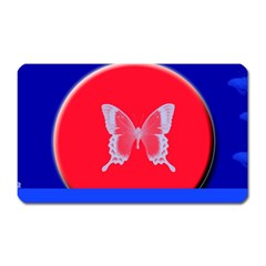 Blue Background Butterflies Frame Magnet (rectangular) by Nexatart