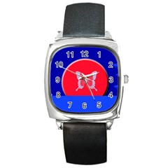 Blue Background Butterflies Frame Square Metal Watch by Nexatart