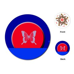 Blue Background Butterflies Frame Playing Cards (round)  by Nexatart