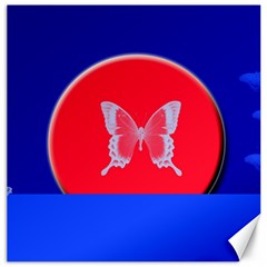 Blue Background Butterflies Frame Canvas 20  X 20