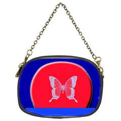 Blue Background Butterflies Frame Chain Purses (two Sides)