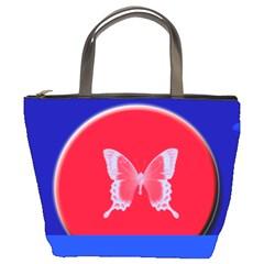 Blue Background Butterflies Frame Bucket Bags by Nexatart