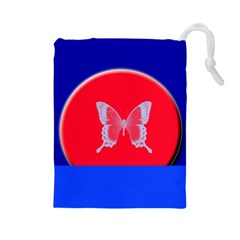 Blue Background Butterflies Frame Drawstring Pouches (large)  by Nexatart
