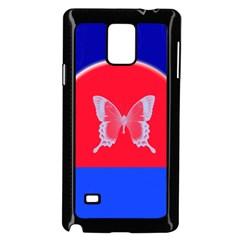 Blue Background Butterflies Frame Samsung Galaxy Note 4 Case (black)