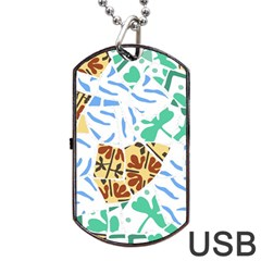 Broken Tile Texture Background Dog Tag Usb Flash (one Side)