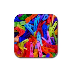 Clothespins Colorful Laundry Jam Pattern Rubber Square Coaster (4 Pack)