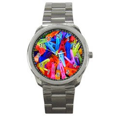 Clothespins Colorful Laundry Jam Pattern Sport Metal Watch