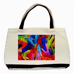 Clothespins Colorful Laundry Jam Pattern Basic Tote Bag by Nexatart