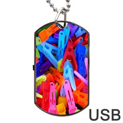 Clothespins Colorful Laundry Jam Pattern Dog Tag Usb Flash (one Side)