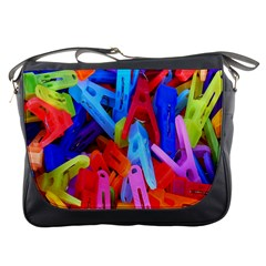 Clothespins Colorful Laundry Jam Pattern Messenger Bags by Nexatart