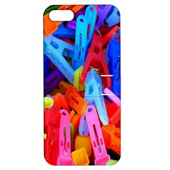 Clothespins Colorful Laundry Jam Pattern Apple Iphone 5 Hardshell Case With Stand