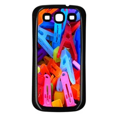 Clothespins Colorful Laundry Jam Pattern Samsung Galaxy S3 Back Case (black)