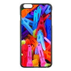Clothespins Colorful Laundry Jam Pattern Apple Iphone 6 Plus/6s Plus Black Enamel Case by Nexatart