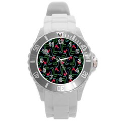 Computer Graphics Webmaster Novelty Pattern Round Plastic Sport Watch (l)