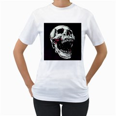 Death Skull Women s T Shirt (white) (two Sided) by Nexatart