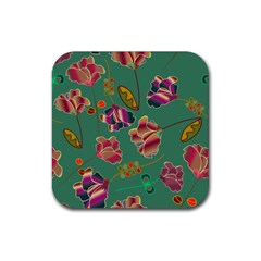 Flowers Pattern Rubber Square Coaster (4 Pack)